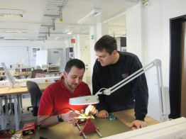 Ibrahim works with his colleague Martin.