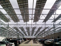 The pv plant provides not only shelter from the sun but also ensures that the electricity demand of the entire North Park Office Complex is met on a daily basis