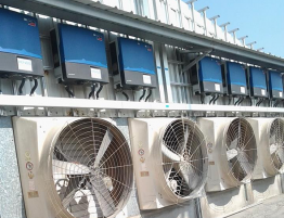 SMA Sunny Tripowers and ventilation fan below cooling system and keeps dust away