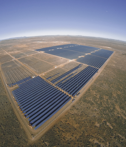 140 SOCCER FIELDS FULL OF SOLAR MODULES, INVERTERS AND TRANSFORMERS. Kalkbult in South Africa is the largest PV power plant on the African continent