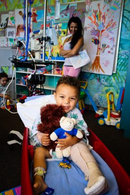 Sunny Bear joins a new family at UC Davis Children's Hospital.