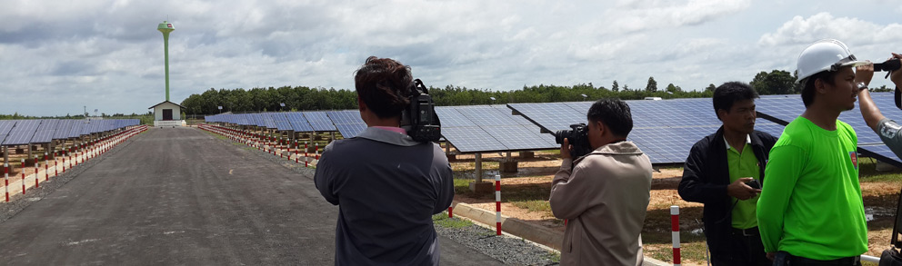 Panorama shot of the solar farm