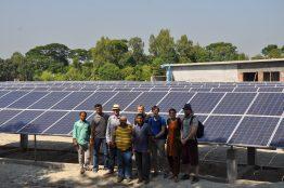 ShouroBangla 141 kWp Solar Power Plant. In photo: Front row (from left): Prof. Peter Adelmann (hs-Ulm), Shahriar Ahmed Chowdury (CER), Back row(from left): Me (CER) Sabbir Ahmed (ShouroBangla Ltd.) Timothy Michael Walsh (SERIS), Jan-Hendrik Soehlemann (GIZ), Hannes Kirchhoff (Micro Energy International), Lia Strenge (Micro Energy International) and Tim Schünemann (Micro Energy International)