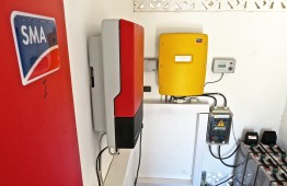 The installations room with the solar inverters and batteries