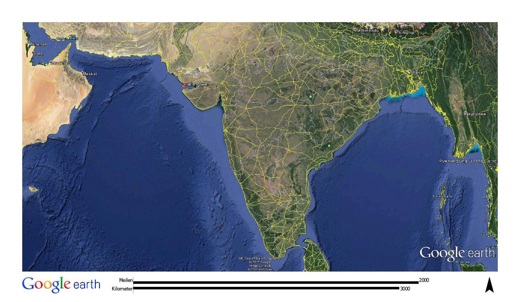 The PV system in India is located 100 meters from the ocean.