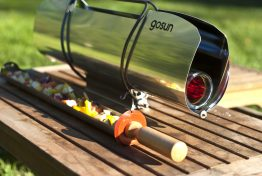Zero-emission cooking with the SunStofey GoSun solar cooker.
