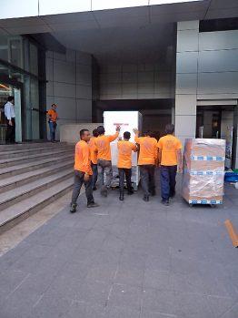 Transport ins Gebäude