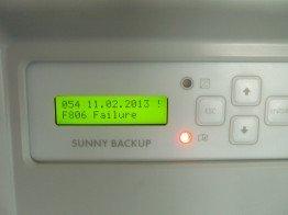 Fehlermeldung F806 beim Sunny Backup 5000