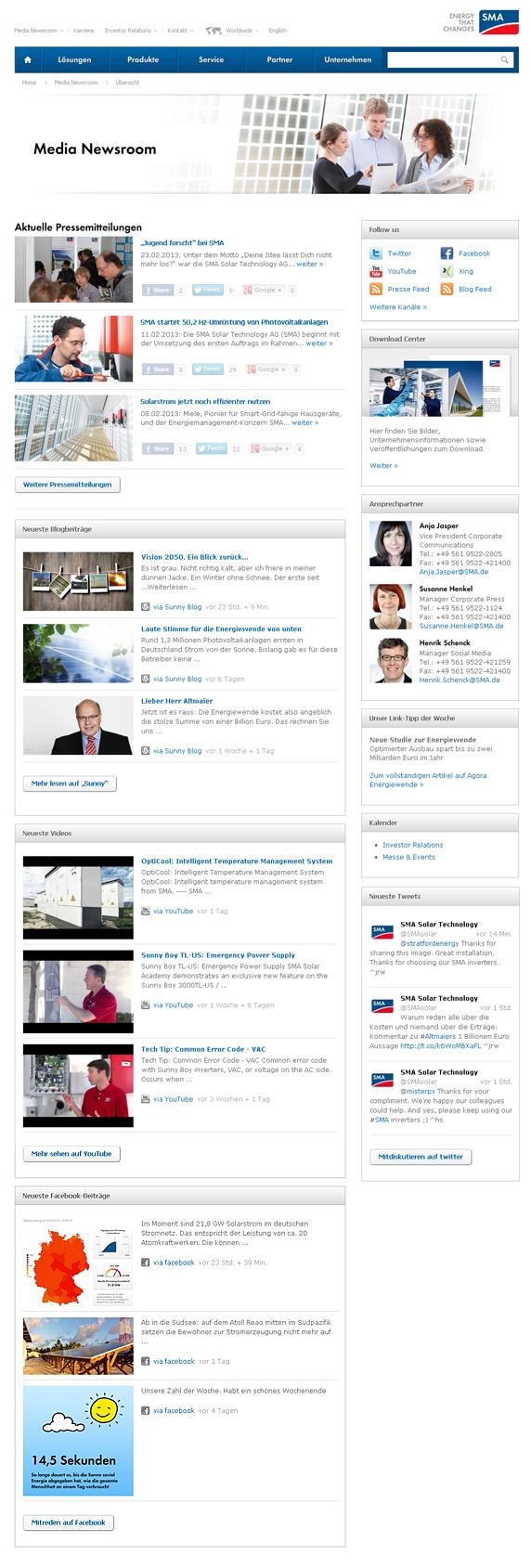 Alle SMA Veröffentlichugnen auf einer Seite: Der Media Newsroom von SMA
