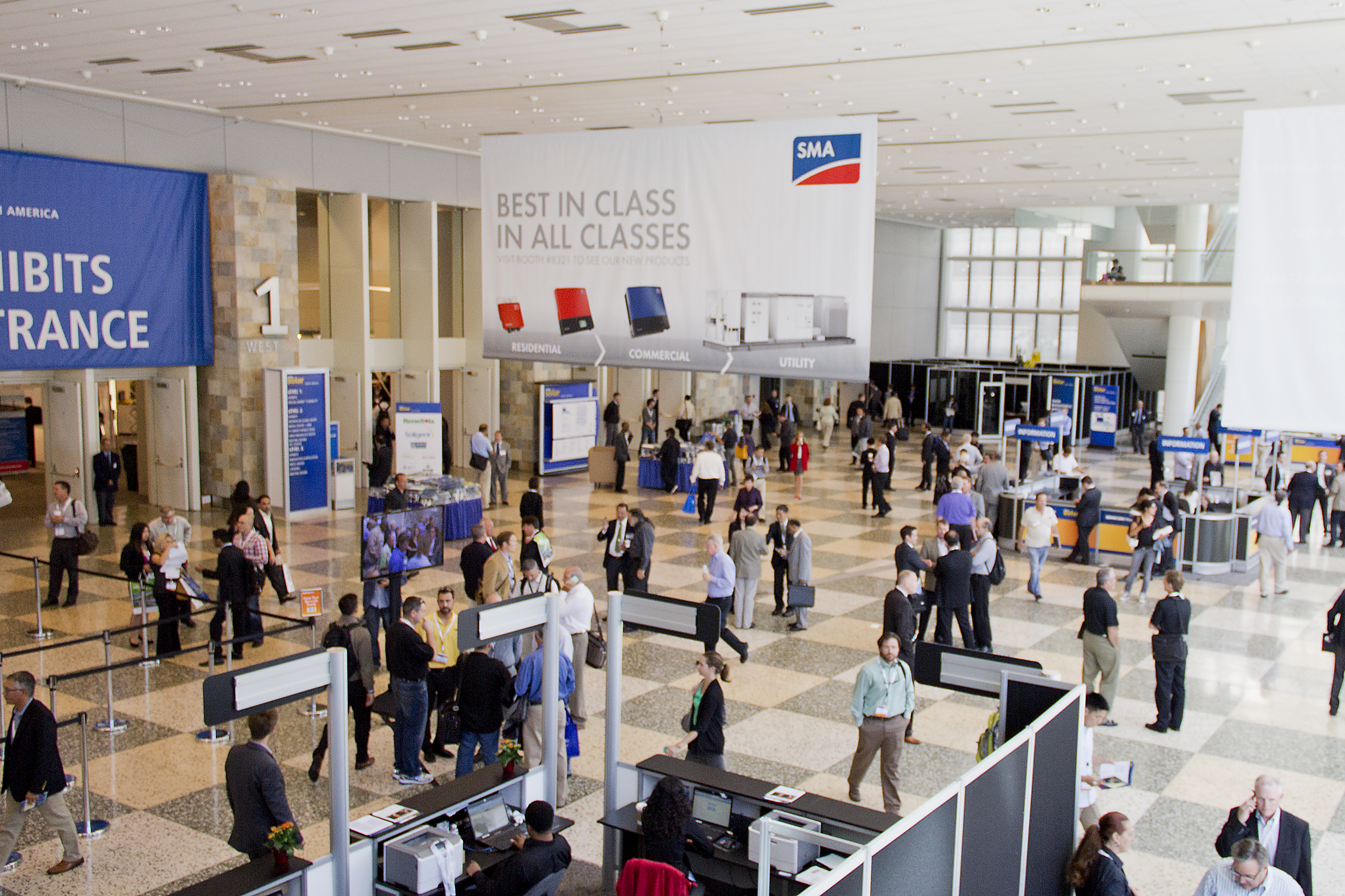 Entering the Mascone Convention Center - Attendees were reminded that SMA offers products in all size classes.