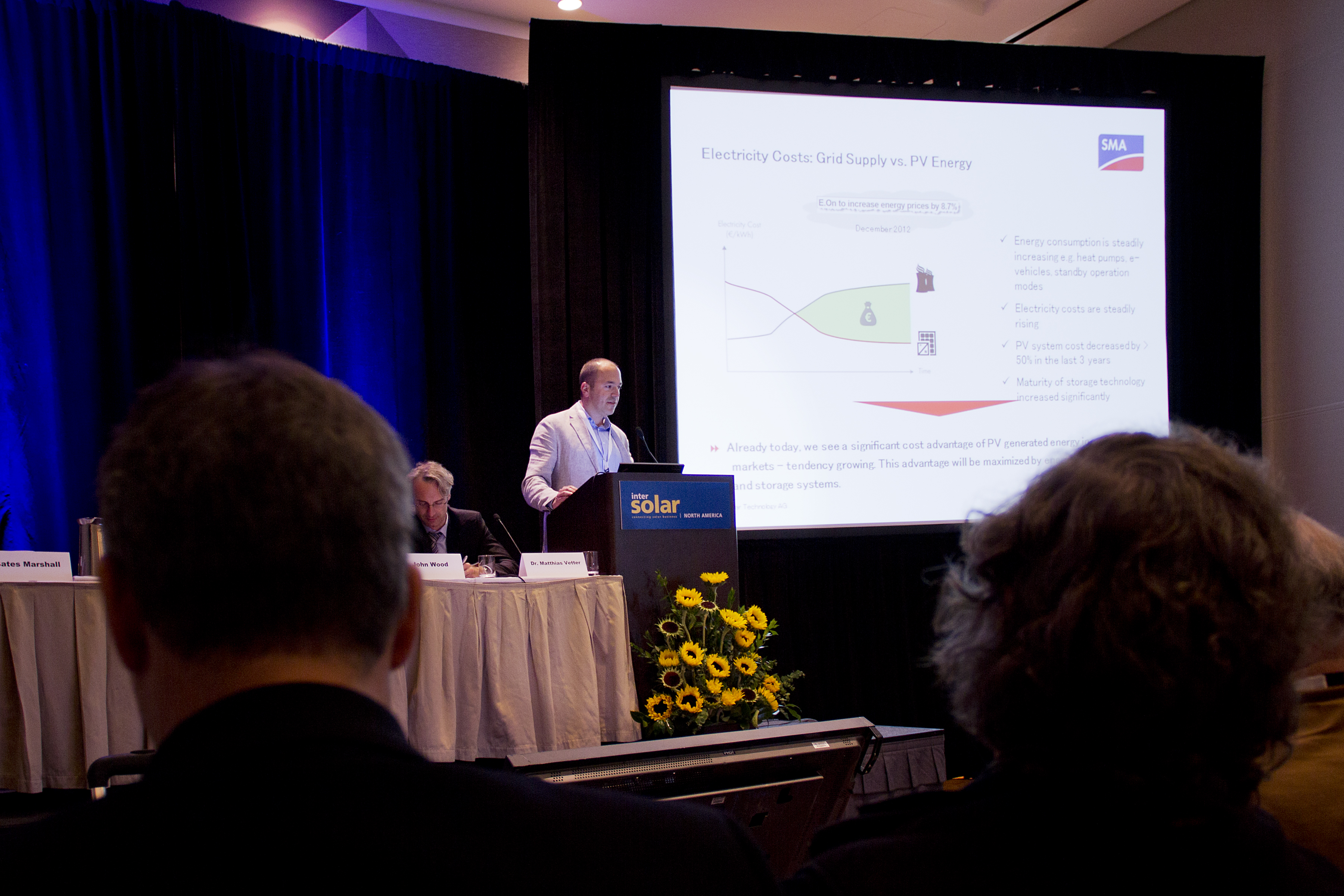 Bates Marshall speaking about storage technology at Intersolar North America.