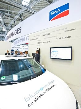 E-Golf and SMA wallbox at the Intersolar Europe 2013
