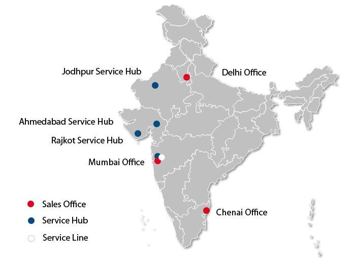 Sales Office = Vertriebsbüro; Service Hub = Servicezentrum; Service Line = Service-Line