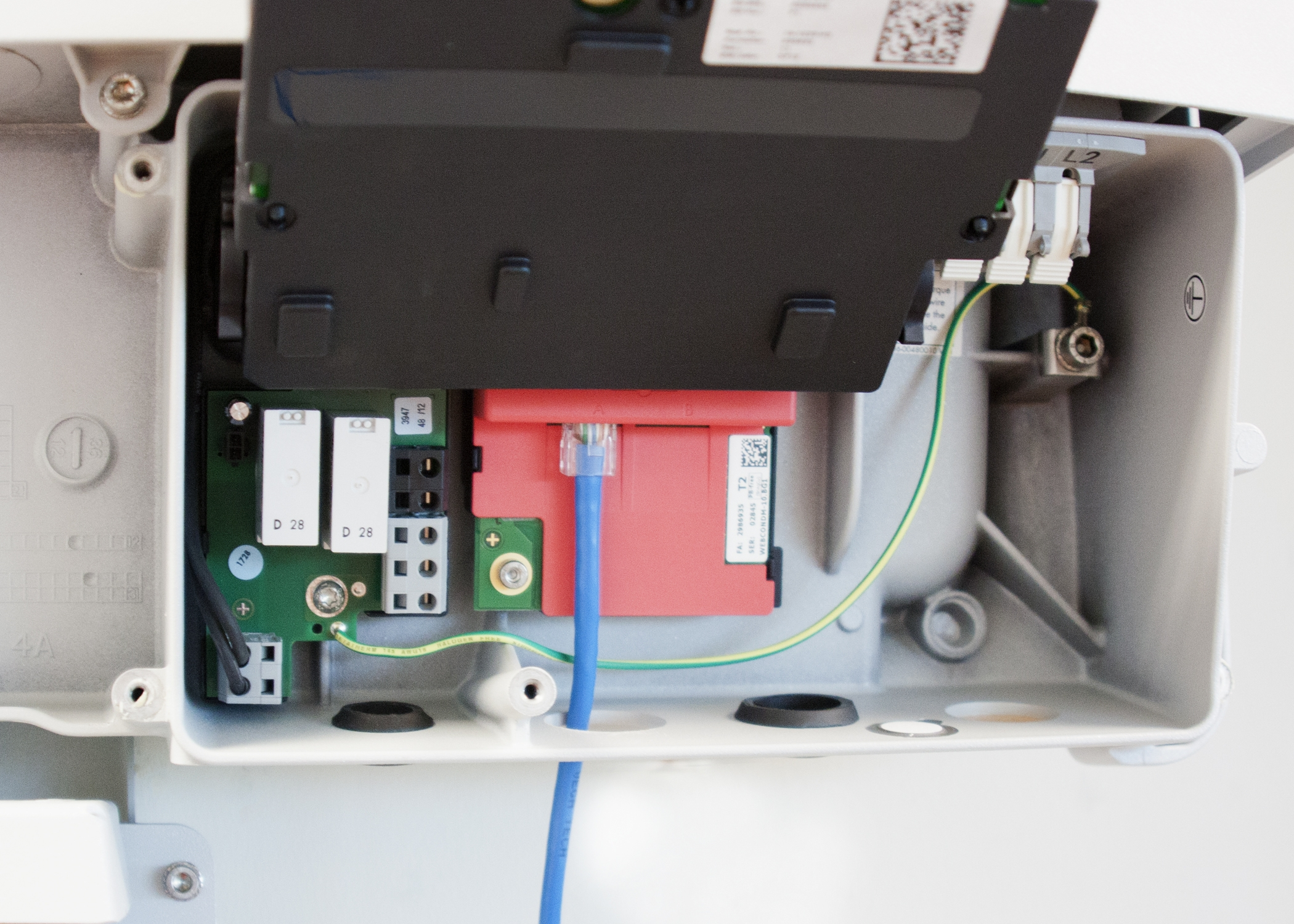 Ethernet cable is connected directly to Webconnect within the inverter and can be accessed via Sunny Explorer or Sunny Portal.