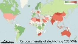 Carbon intensity of electricity. Source: Shrink That Footprint.