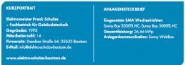 Kurzportrait und Anlagensteckbrief der Frank Scholze Elektro GmbH