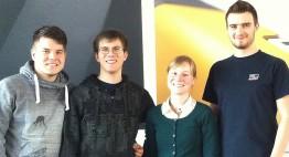 Die Filmemacher und EGS-Azubis Alex Kröß, Jonas Berlitz, Caroline Sternberger und Florian Leu