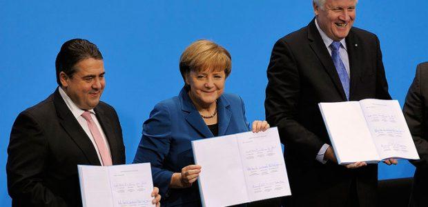 Unterschrift des Koalitionsvertrages der 18. Wahlperiode des Bundestages