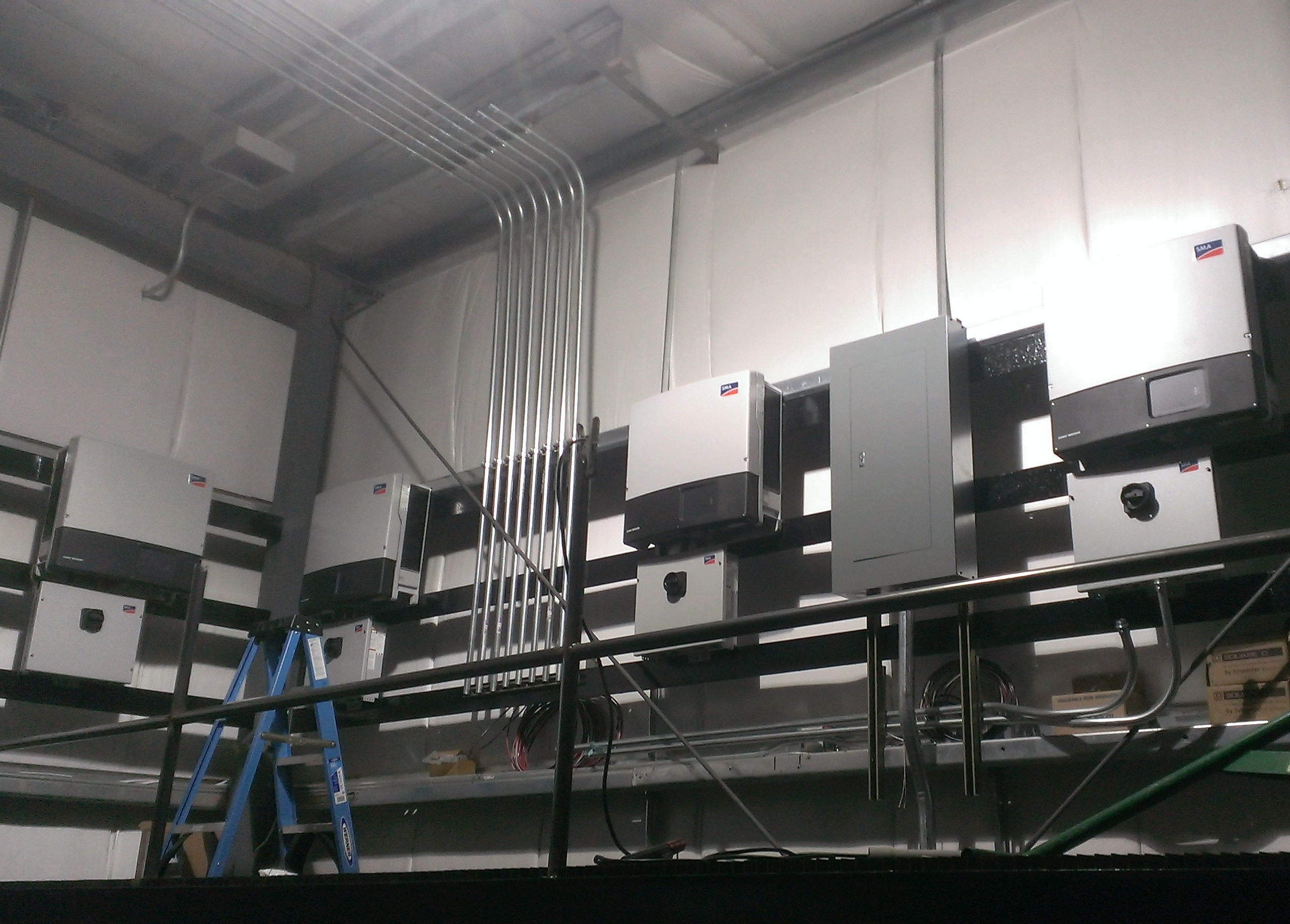 Further along in the inverter installation process, it's starting to take shape.