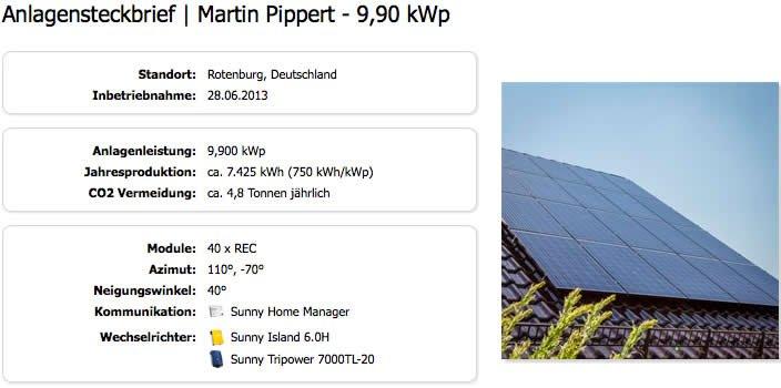 Anlagensteckbrief von Martin Pippert