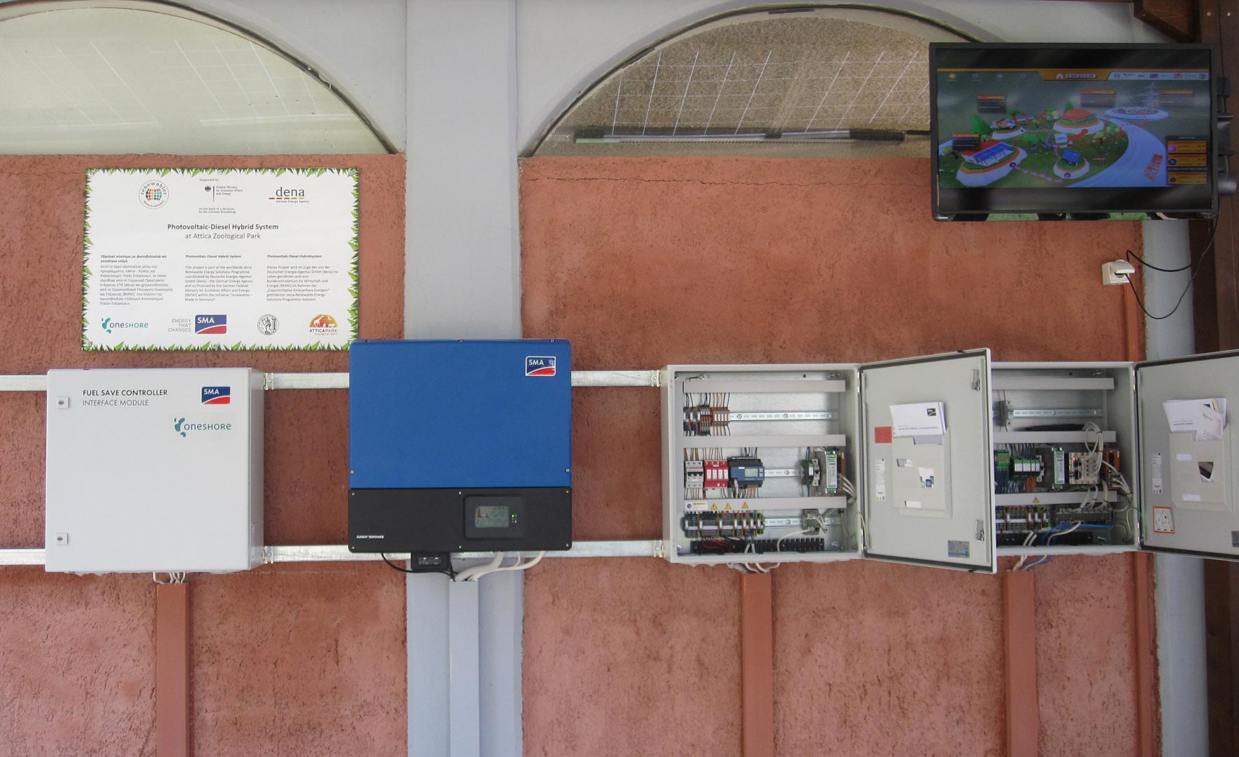 SMA PV-Diesel-Hybrid-Anlage im Zoo von Athen
