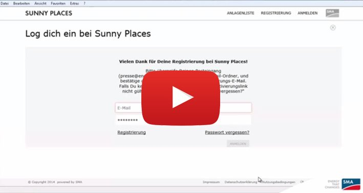 Screencast: Sunny Places Registrierung