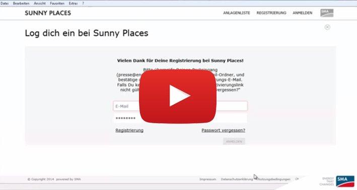 Screencast: Sunny Places Registrierung