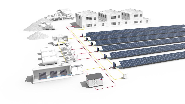 System setup for a decentralized solar diesel hybrid system