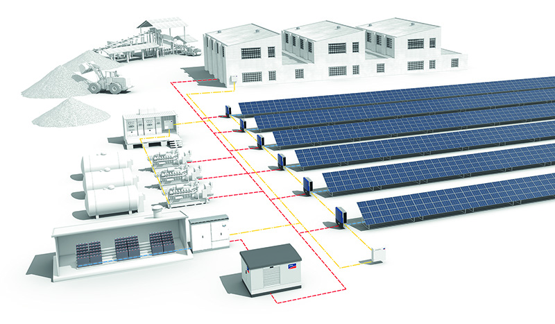 A rendering of SMA's PV-diesel systems shows the layout of systems using the Fuel Save Controller.