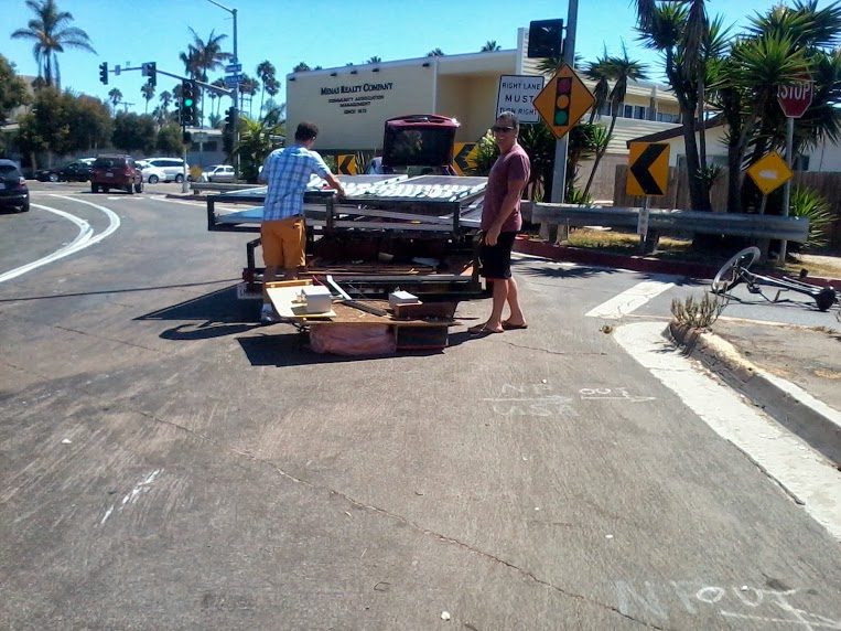Cleaning up the traffic accident on La Jolla Blvd.