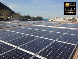 Preisgekröntes PV-Diesel-Hybridprojekt: 200 kW installierte Solarenergie auf dem Dach der Kunststofffabrik Advanced Plastic Industries (API) in Zouk Mosbeh, Libanon, ergänzen 3 x 750 kVA Dieselgeneratorleistung.