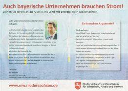 Energiewende in Bayern adé? Die Niedersachsen antworten mit dieser Anzeige auf die Kollegen in Bayern.