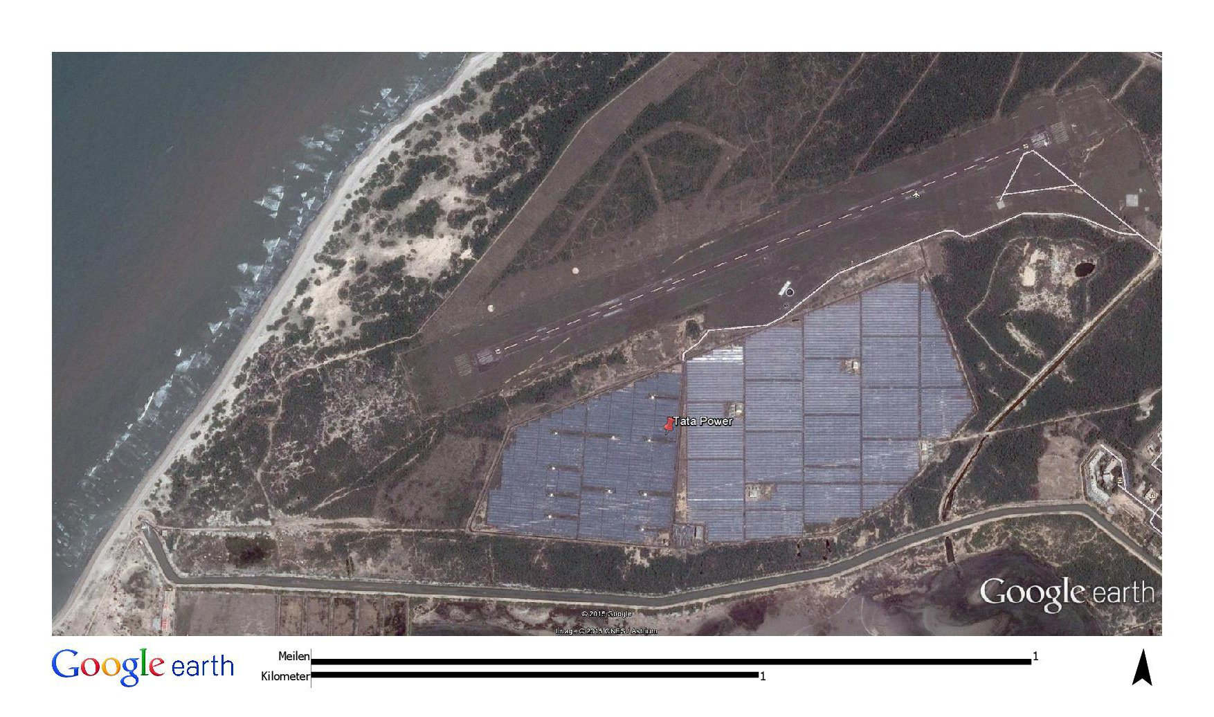 The Indian PV power plant is not only close to the sea but also right next to a chemical plant