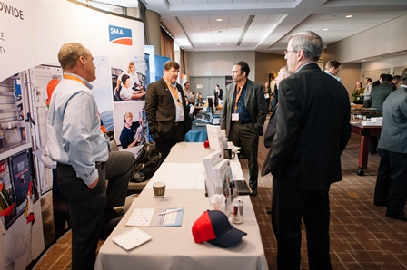 In full display, attendees stop by the SMA booth at Solar Asset Management North America.
