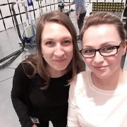 Me and my colleague Viktoria in the EMC chamber