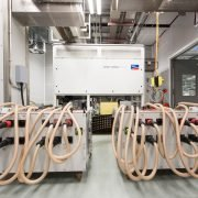 Each Sunny Central inverter is put through its paces in the test chamber during the production process