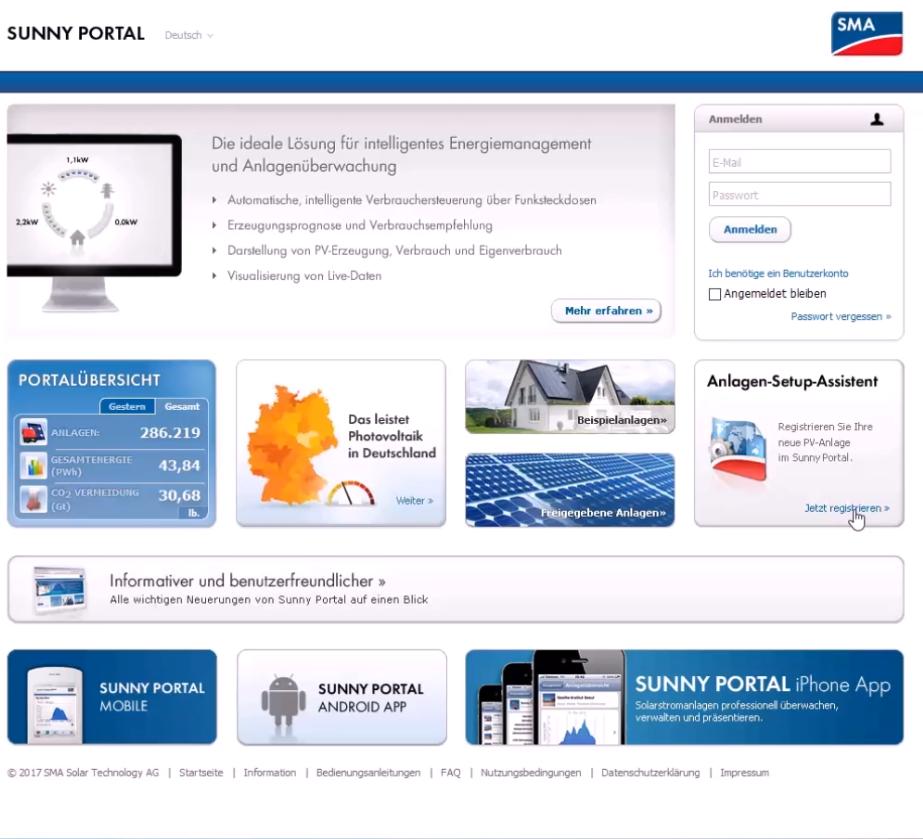 Registrierung im Sunny Portal