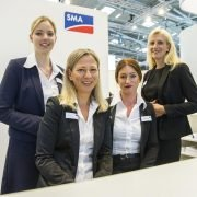 The reception team at SMA's booth