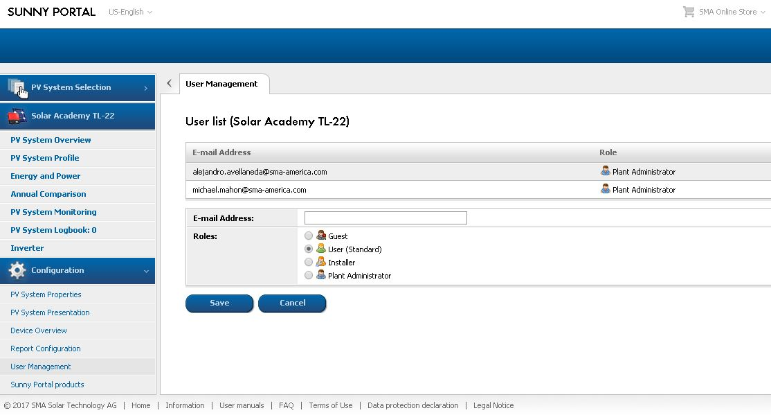 Figure 2b. Select the role and enter email for new user, then click Save