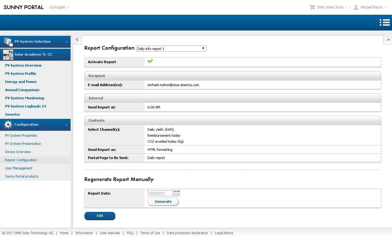 Figure 3. Report Configuration page, showing active Daily report details
