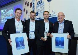 Simon Schandert, Marcus Kruckow, Daniel Hannemann und Torsten Ketelsen bei der smarter E Award 2018-Preisverleihung.