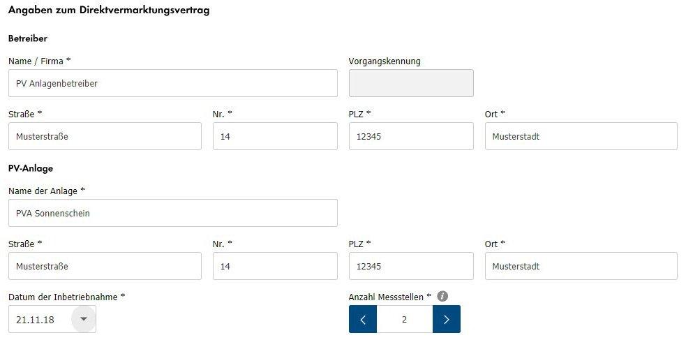 Abbildung 3: Informationen zur PV-Anlage und zu den technischen und kaufmännischen Ansprechpartnern hinterlegen
