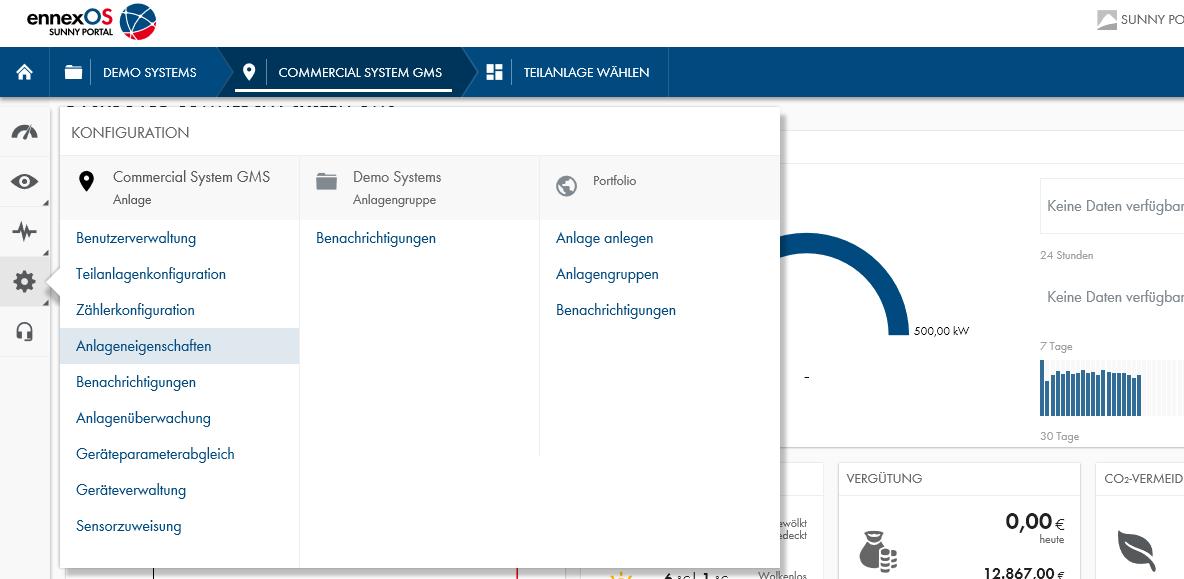 Abbildung 9: Anlageneigenschaften im Sunny Portal powered by ennexOS aufrufen