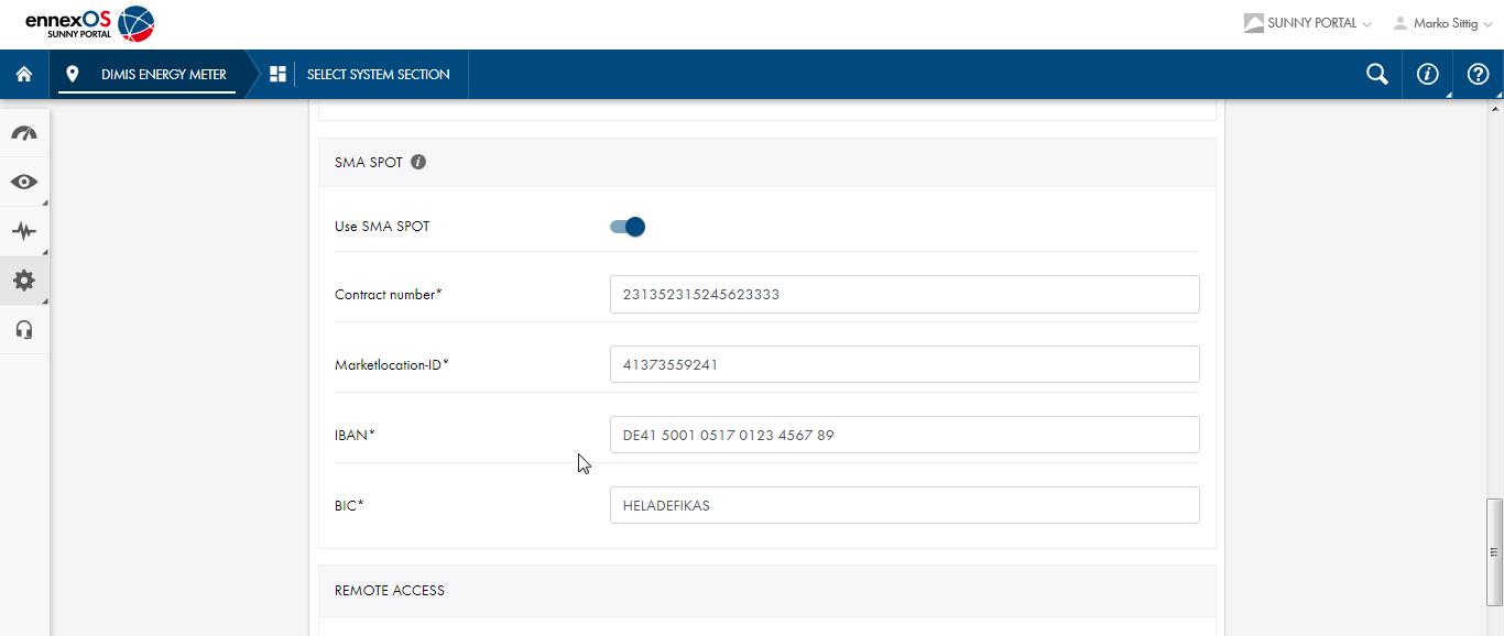 Abbildung 10: Zusätzliche Informationen zum Direktvermarktungsvertrag im Sunny Portal powered by ennexOS hinterlegen