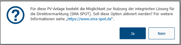 Abbildung 1: Aktivierung von SMA SPOT in Sunny Design