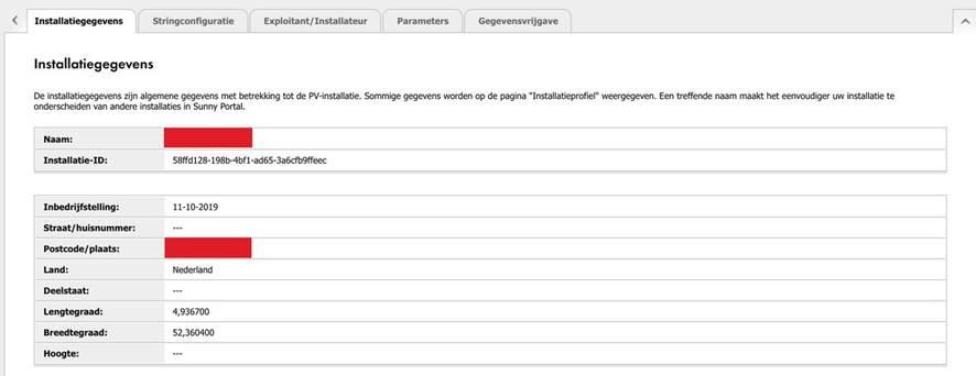 Configuratie > Installatie-eigenschappen > Installatiegegevens