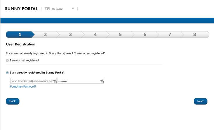 Figure 2. Create an account or enter account information for Sunny Portal