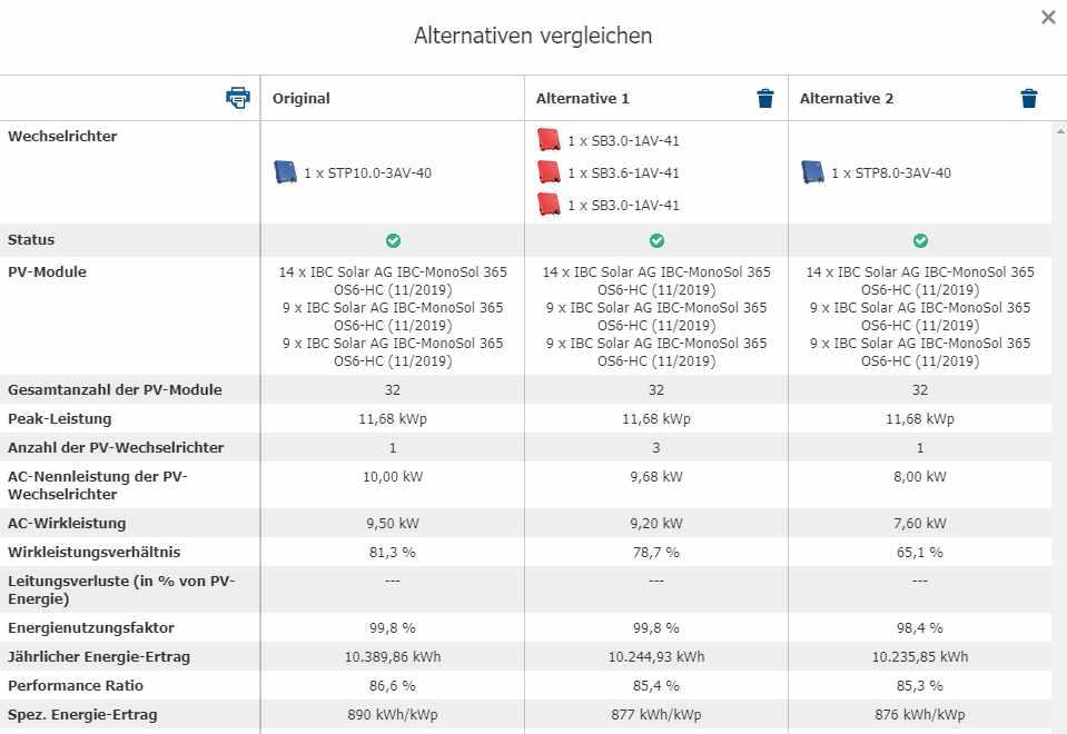 """Screenshot Sunny Design. Hinweis: Wer zwei alternative Designs vergleichen möchte, nutzt in Sunny Design die Registerkarten """"Alternative hinzufügen"""" und """"Alternativen vergleichen"""" rechts oben im PV-Anlagenabschnitt."""