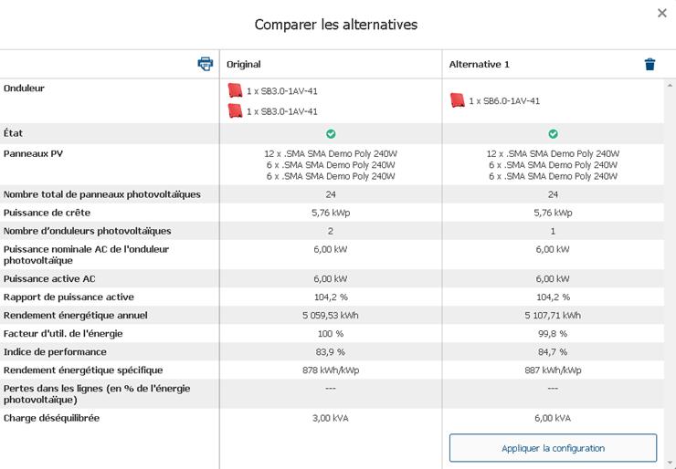 Fig. 2 : Capture d'écran de Sunny Design (Remarque : pour comparer les deux conceptions alternatives dans Sunny Design, naviguez entre les onglets du coin supérieur droit dans la section du système PV étiquetés « Add alternative » (ajouter une alternative) et « Compare alternatives » (comparer les alternatives)).