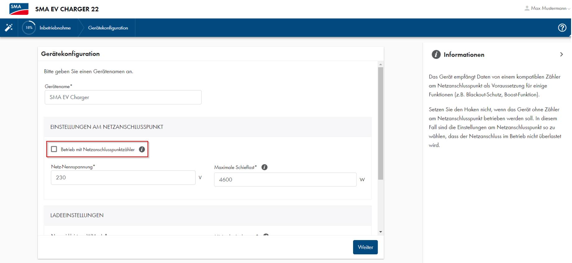 SMA EV Charger_Betrieb mit Netzanschlusspunktzähler